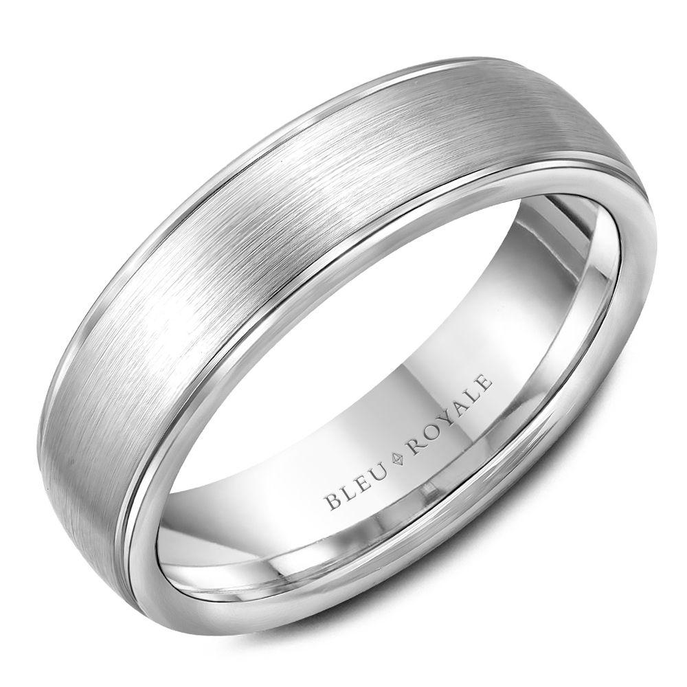 Elegant Men's Designer Brushed White Gold Wedding Band