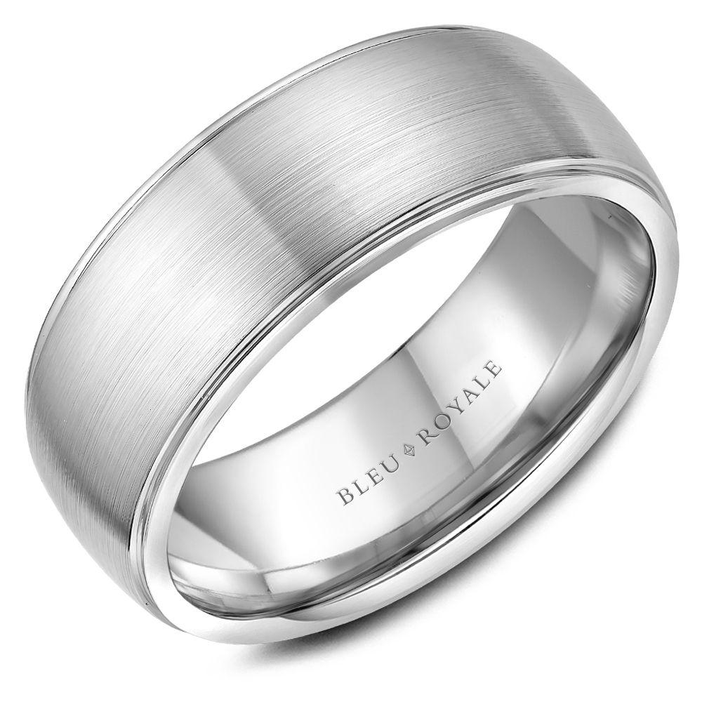 Polished Edges Men's Designer White Gold Wedding Band