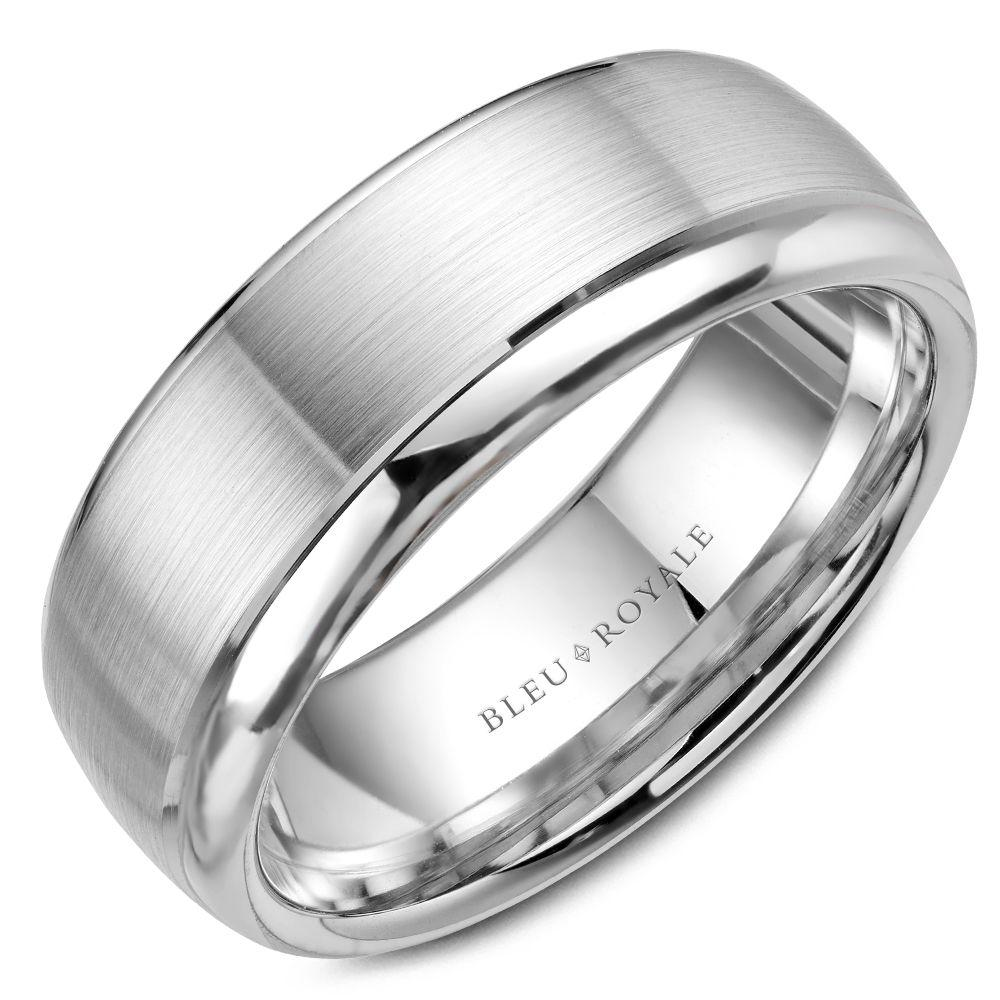 Brushed Center Men's Designer White Gold Wedding Band