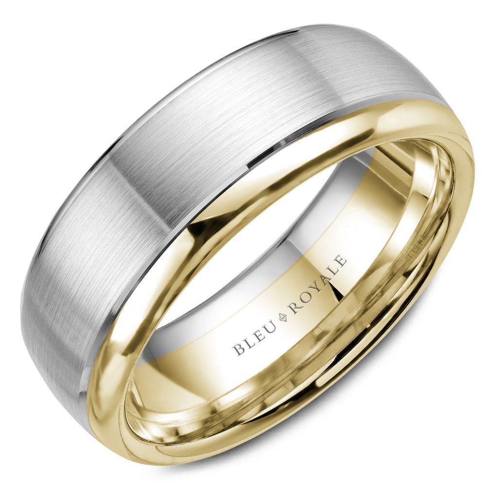 Men's Designer White and Yellow Gold Wedding Band with Gold Edge