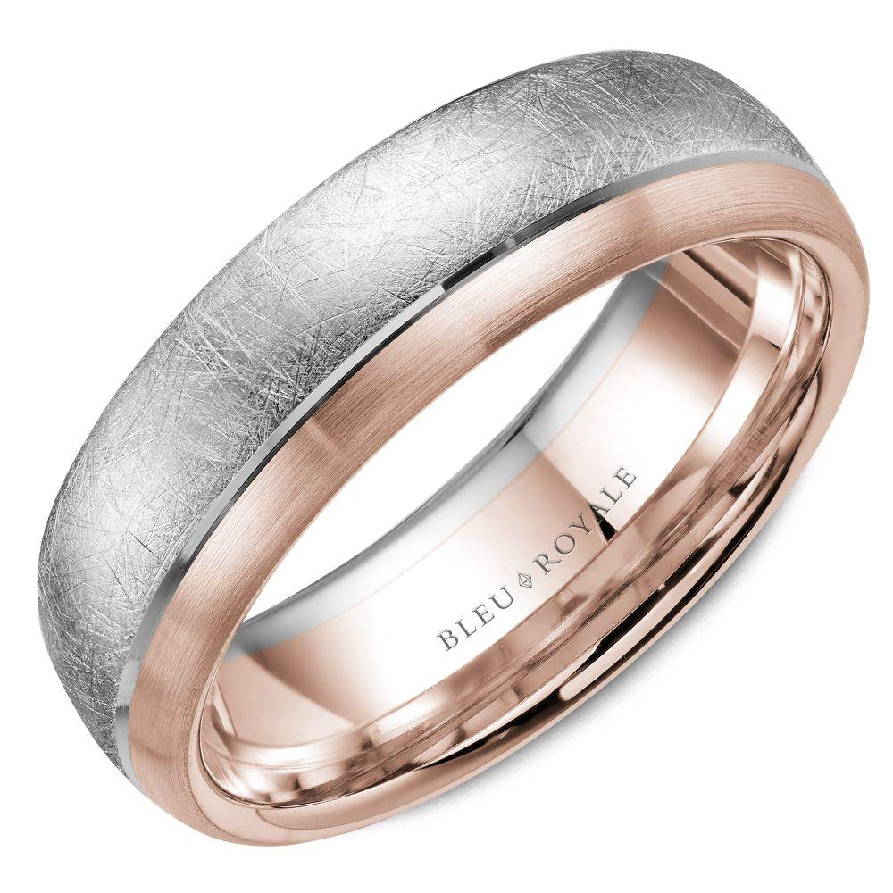 Fine Men's Designer Wedding Band with Rose Diamond Brush Center