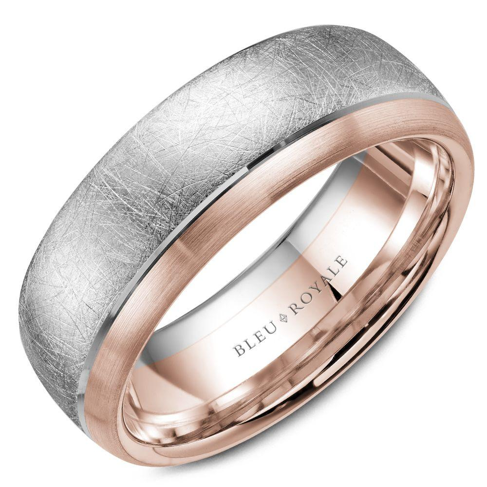 Men's Designer Wedding Band with Rose Diamond Brush Center