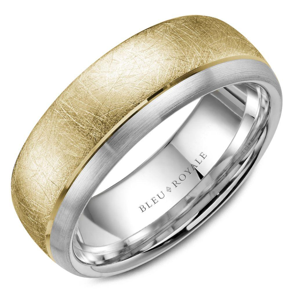 Men's Designer Wedding Band with Yellow Diamond Brush Center