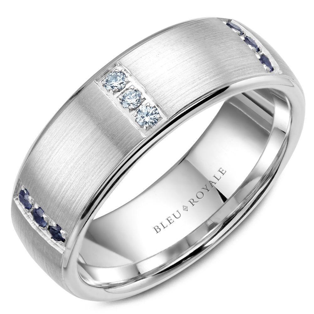 Triple Prong Men's Designer White Gold Wedding Band