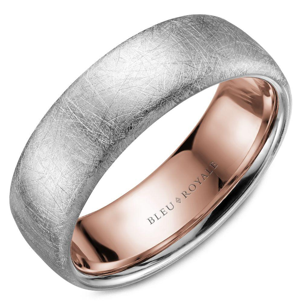 Men's Designer Wedding Band with Rose Interior