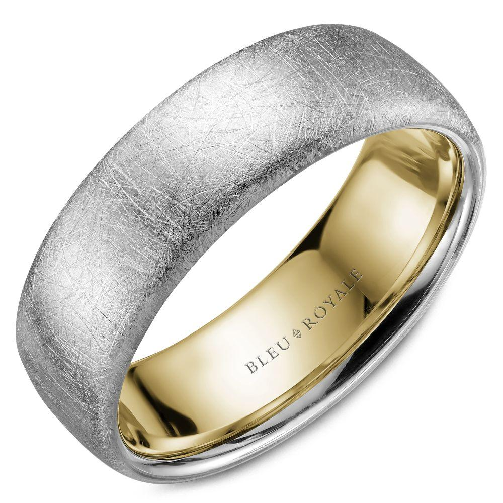 Men's Designer Wedding Band with Yellow Interior