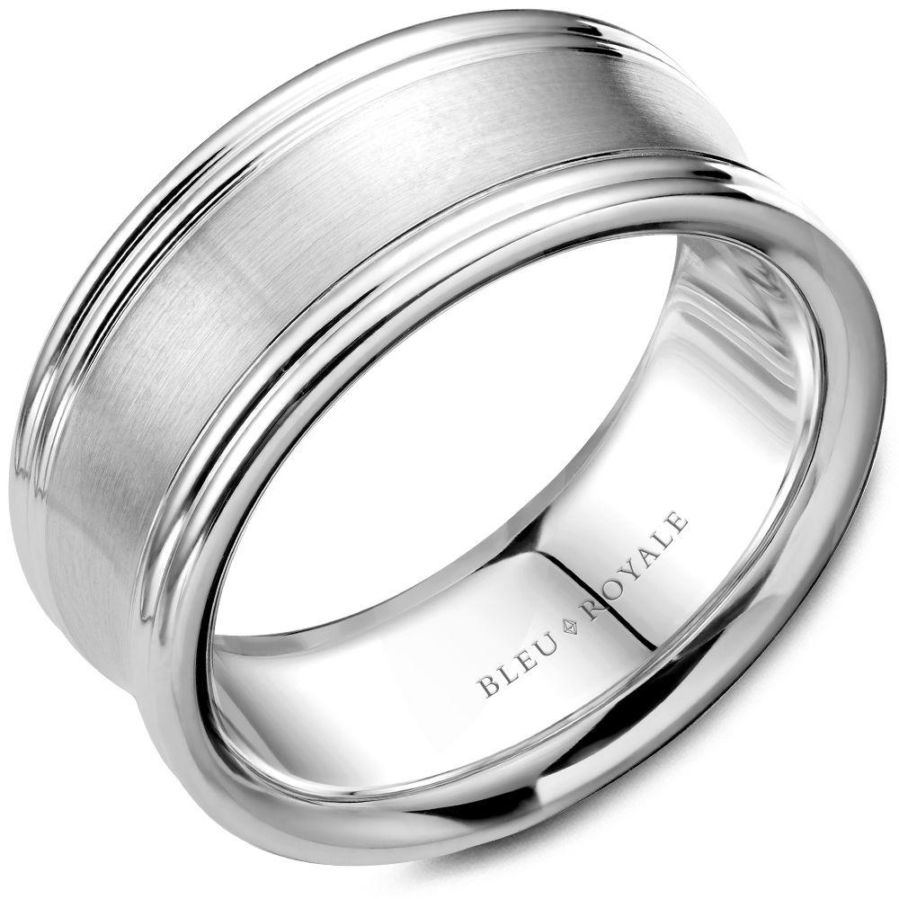 Double Edged White Gold Wedding Band For Men