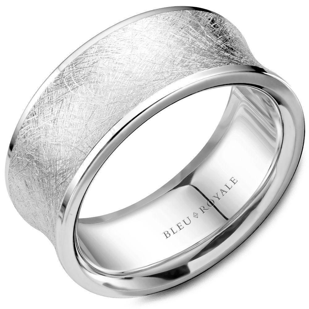 Double Edged Diamond Brushed White Gold Wedding Band For Men