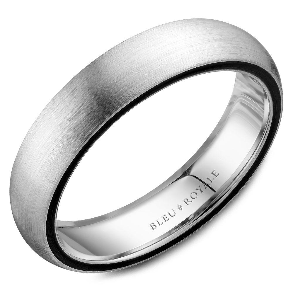 Black Rimmed White Gold Wedding Band For Men