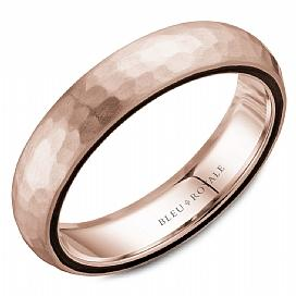 5.5mm Hammered Rose Gold Wedding Band For Men