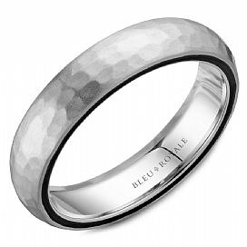 5.5mm Hammered White Gold Wedding Band For Men