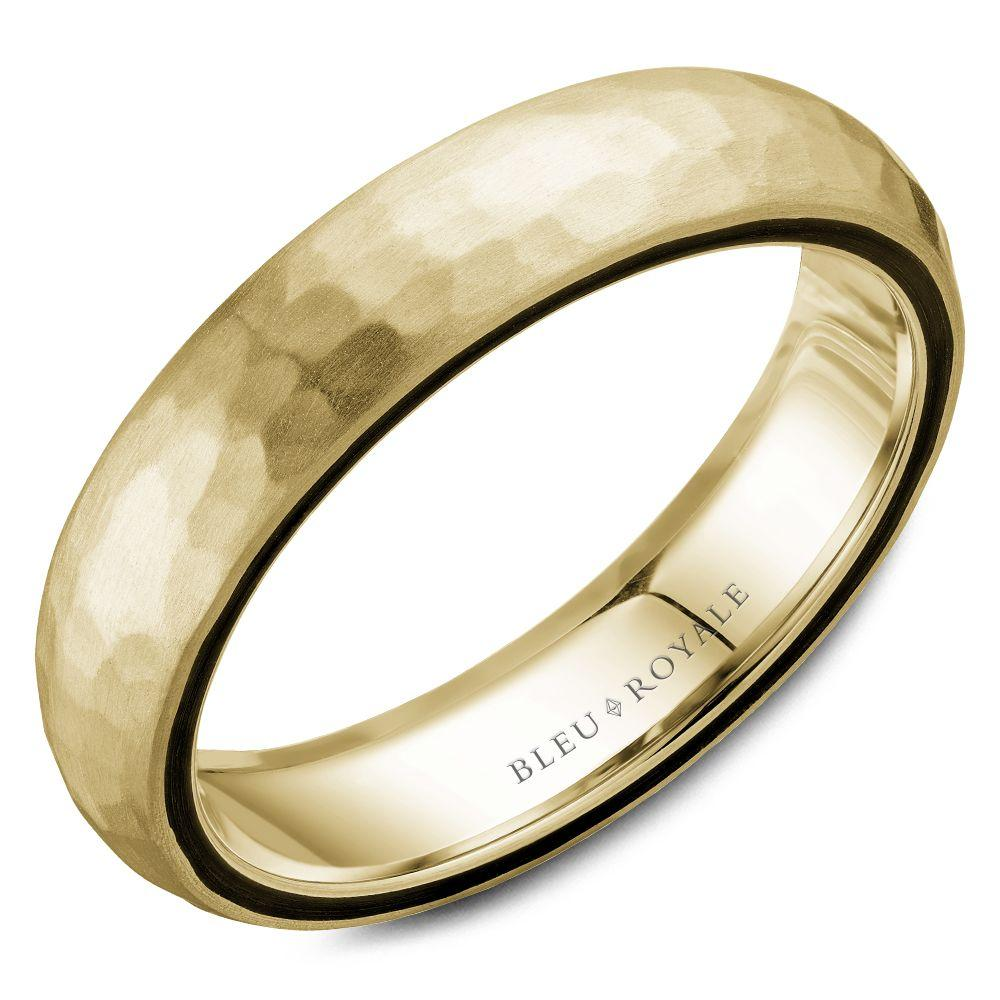 5.5mm Hammered Yellow Gold Wedding Band For Men
