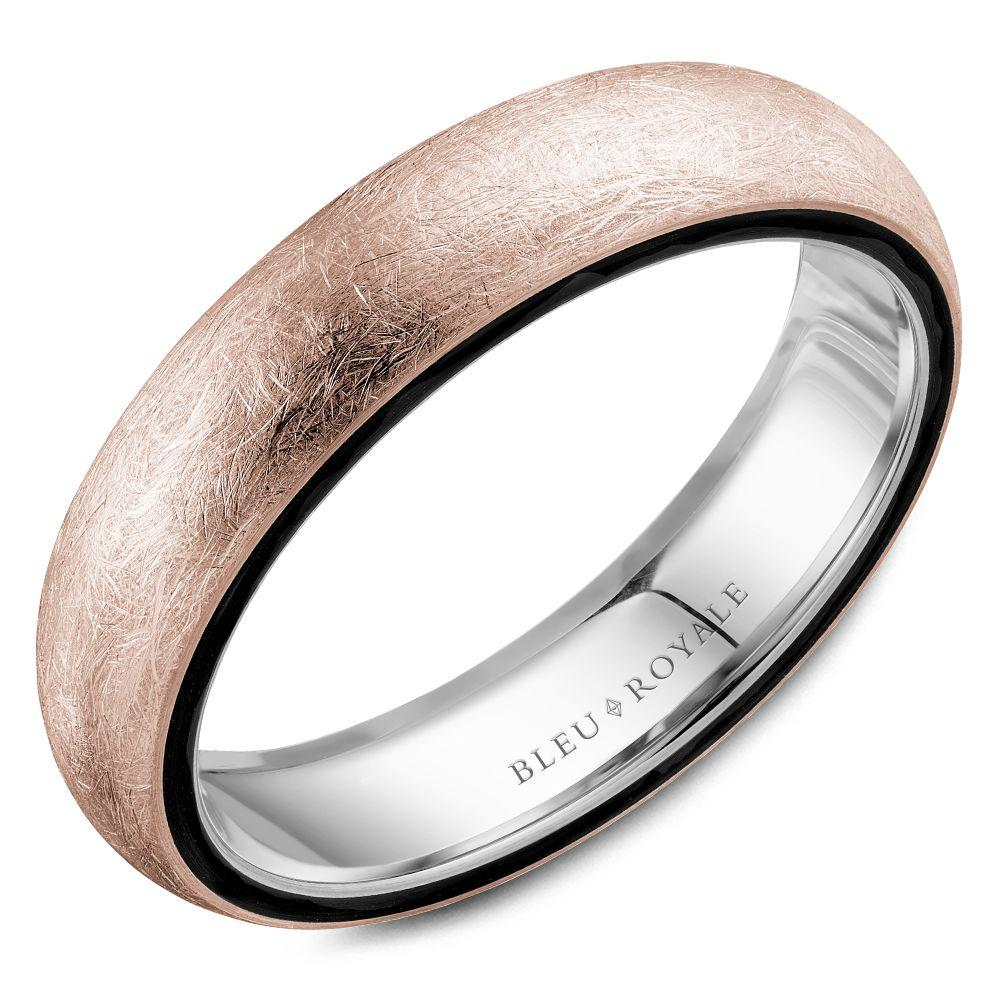 Black Rimmed Diamond Brush Rose Gold White Interior Wedding Band For Men