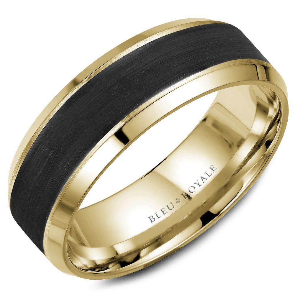 Black Stiped Yellow Gold Wedding Band For Men