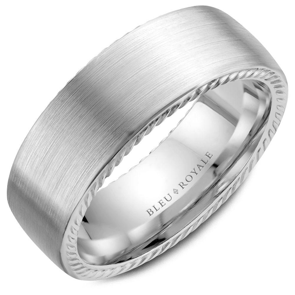 Brushed Lasso White Gold Wedding Band For Men