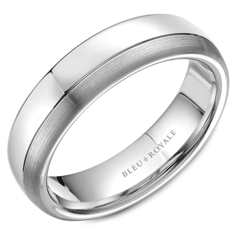 White Gold Line Detailed Wedding Band For Men