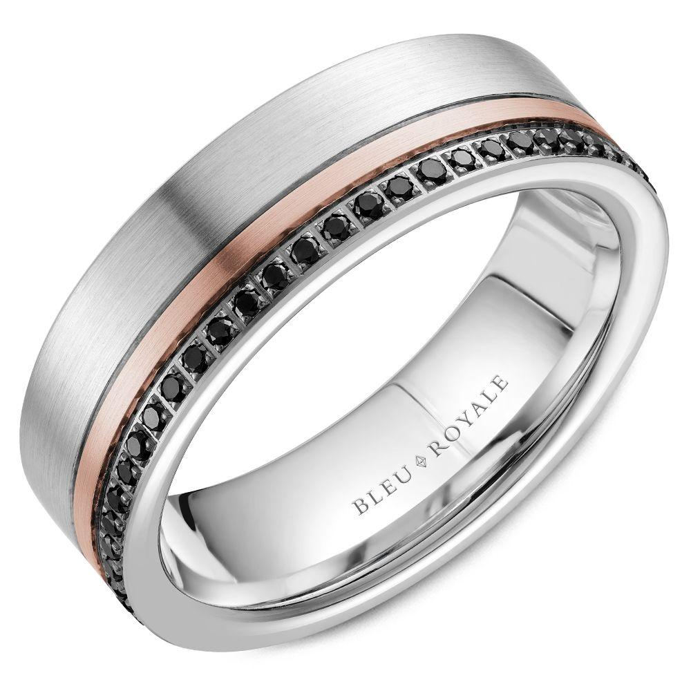 White Gold with 55-Diamond and Rose Gold accent Wedding Band