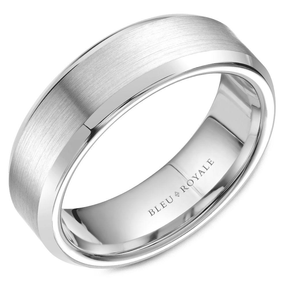 Brushed Beveled White Gold Wedding Band For Men