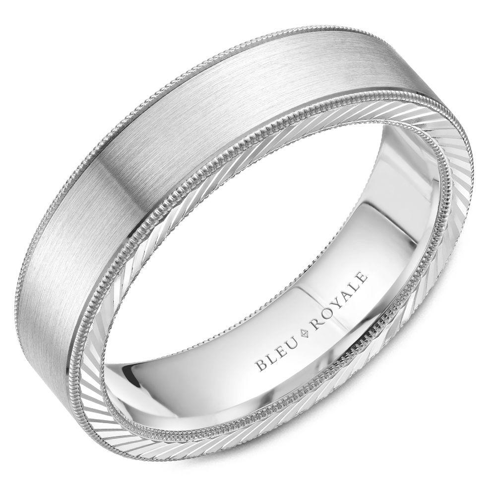 White Gold Wedding Band For Men with Cord Texture On Rim