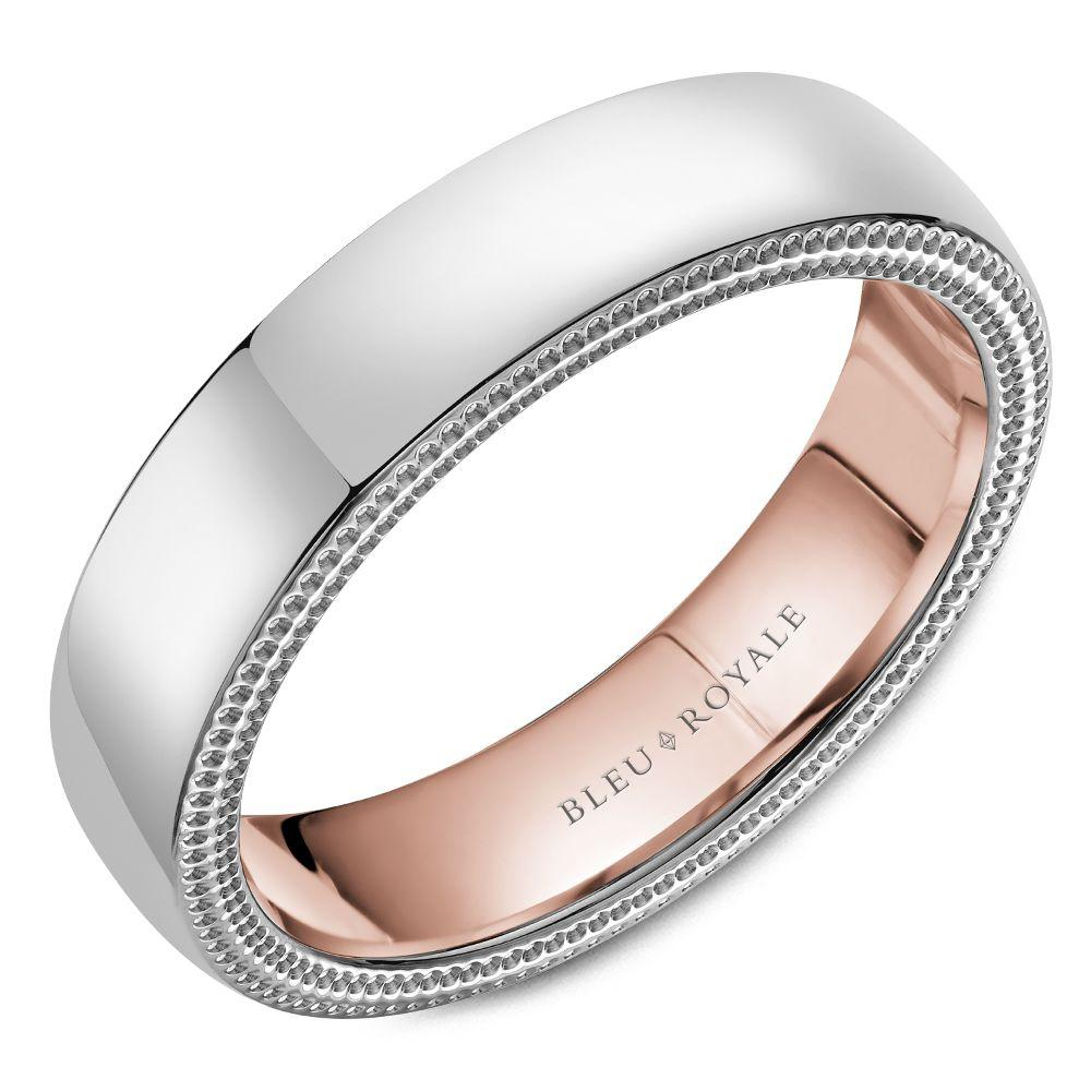 Double Lasso White Gold and Rose Gold Inlay Wedding Band For Men