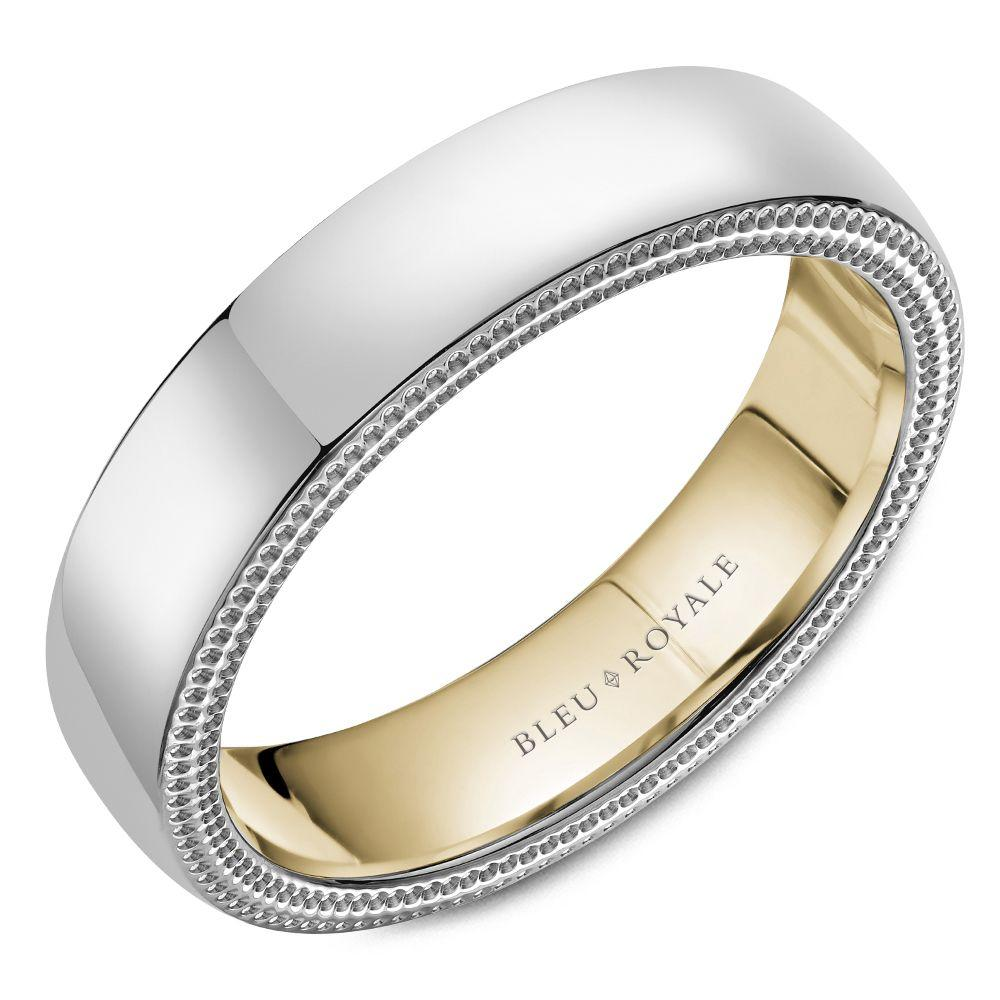 5.5mm White and Yellow Gold Wedding Band For Men