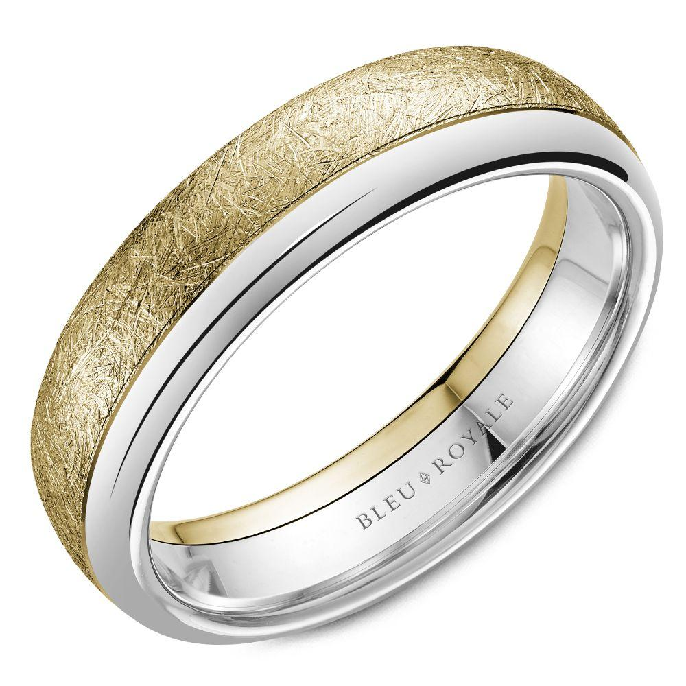 Haute Carved Yellow Gold Brush Wedding Band For Men