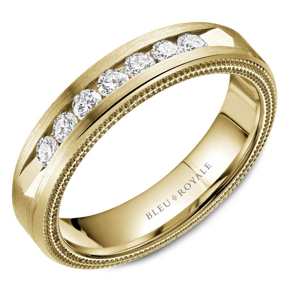 Crowned 7-Diamond Yellow Gold Wedding Band For Men