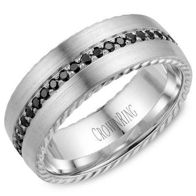 Modern Men White Gold Wedding Band With Black and Clear Diamonds