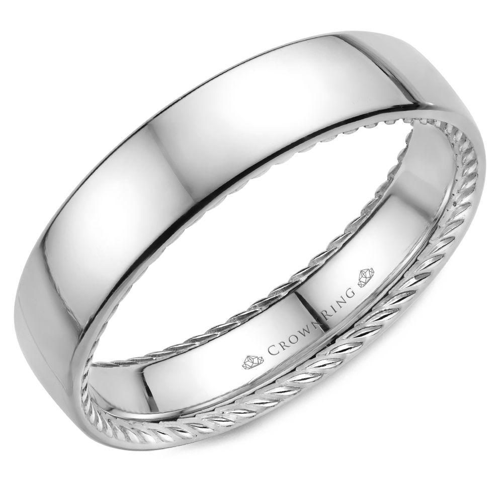 Classic White Gold Men's Wedding Band