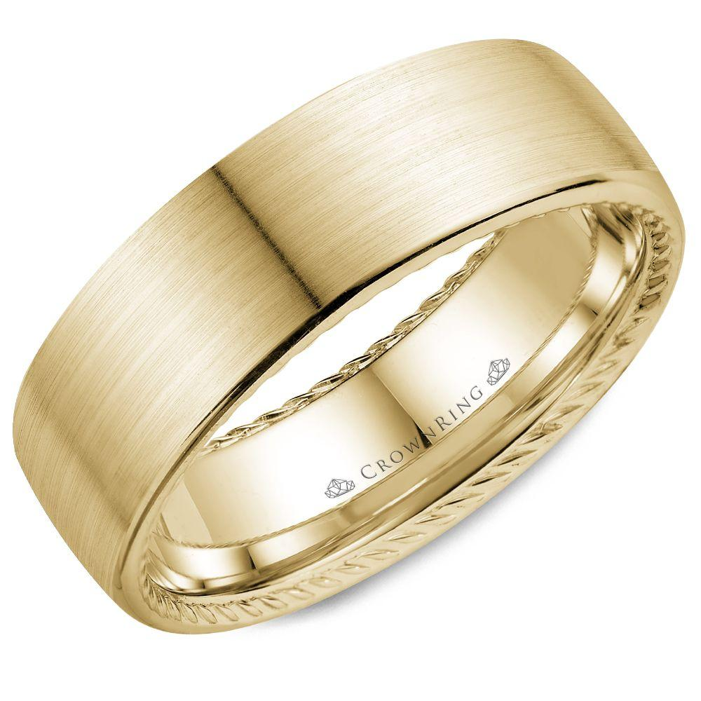 Classic Brushed Yellow Gold Men's Wedding Band