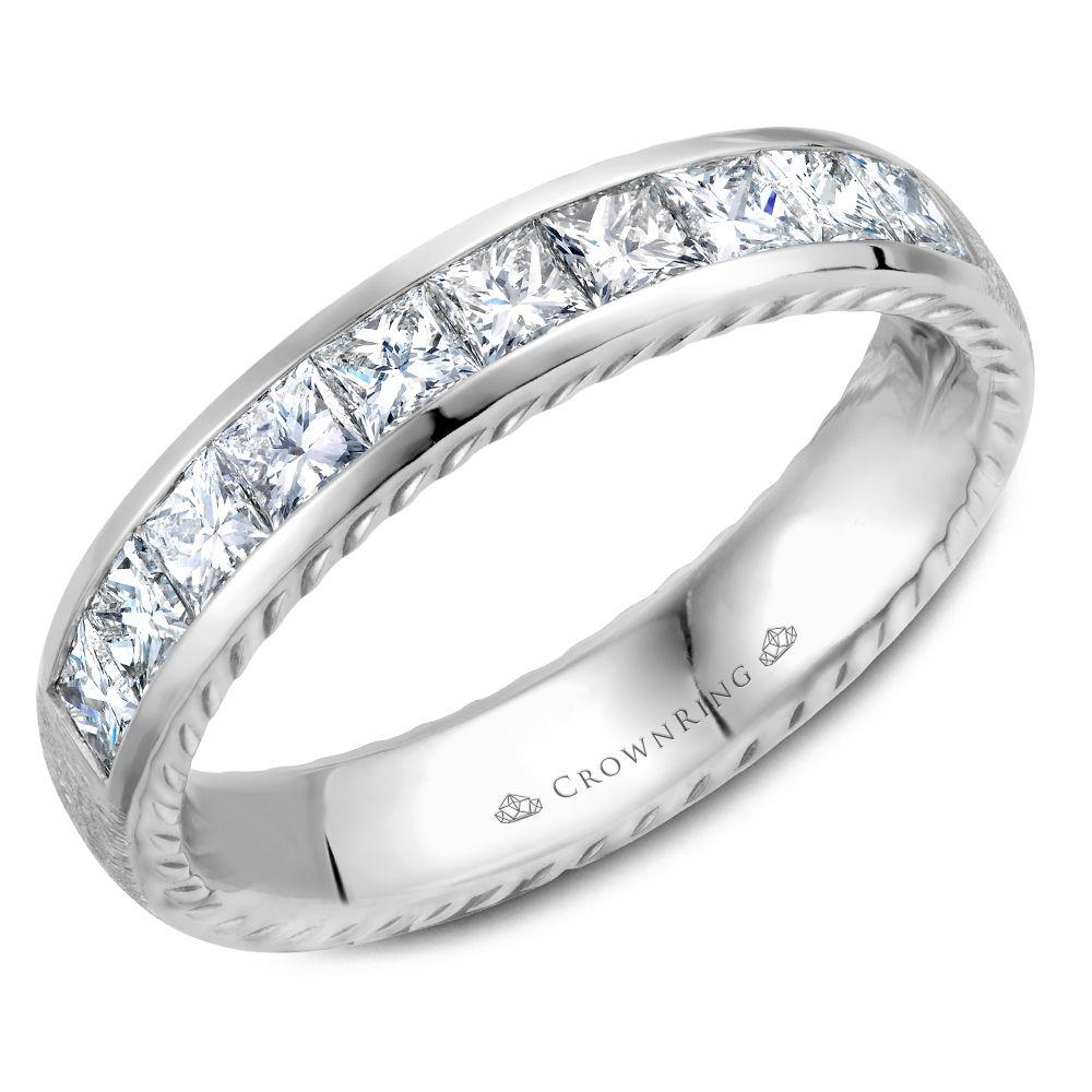 Princess Cut White Gold Women's Wedding Band