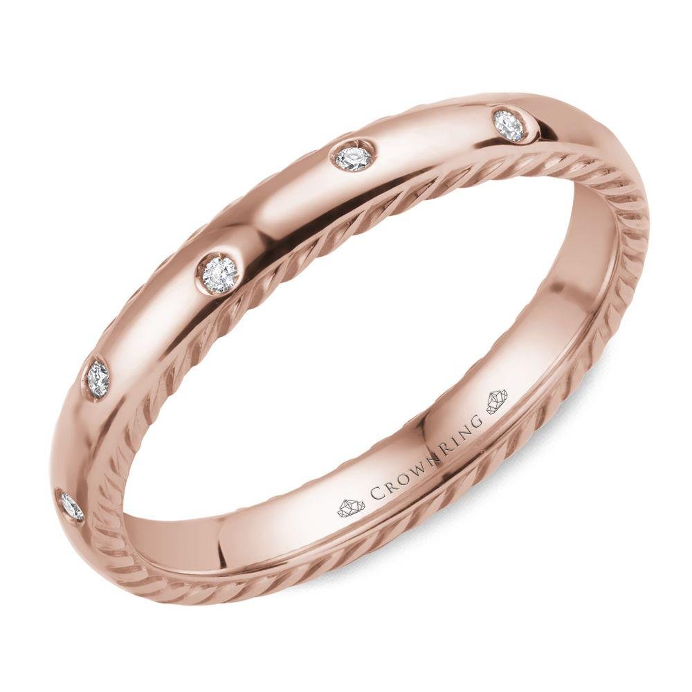 Round Diamonds Rose Gold Women's Wedding Band