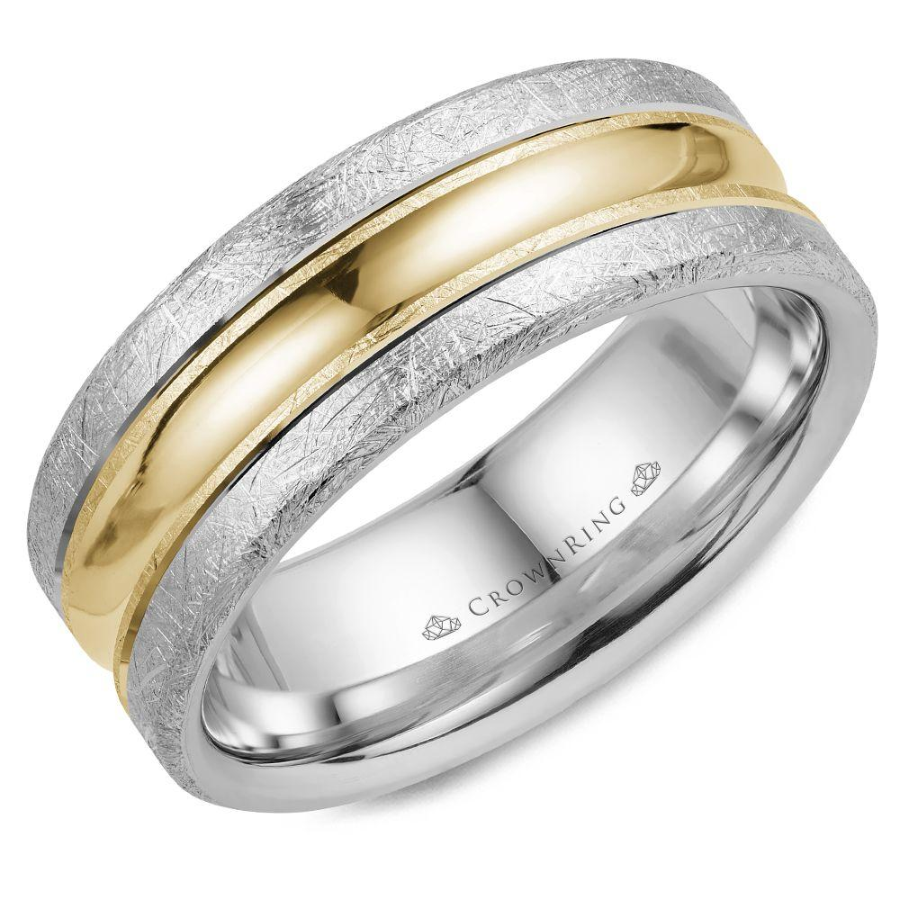 Crownring Carved 8mm Yellow and White Gold Wedding Band For Men