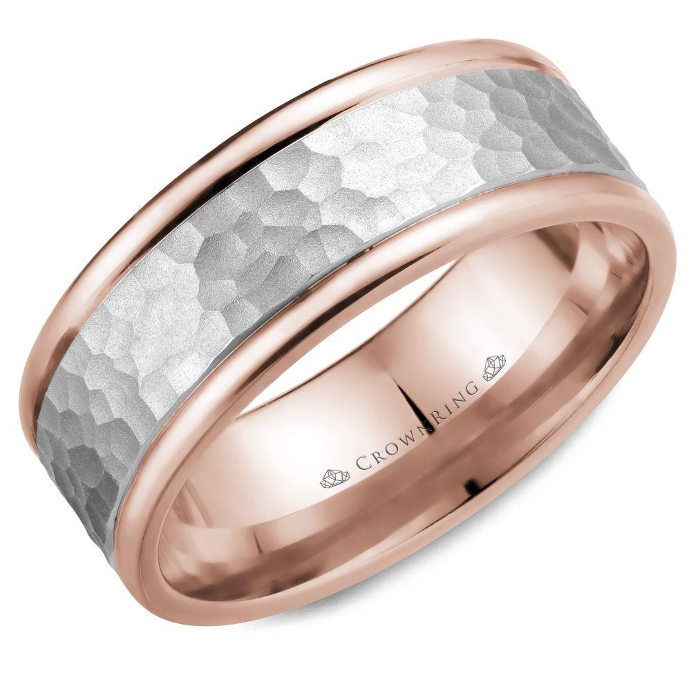 Crownring Carved 8mm White and Rose Gold Wedding Band For Men