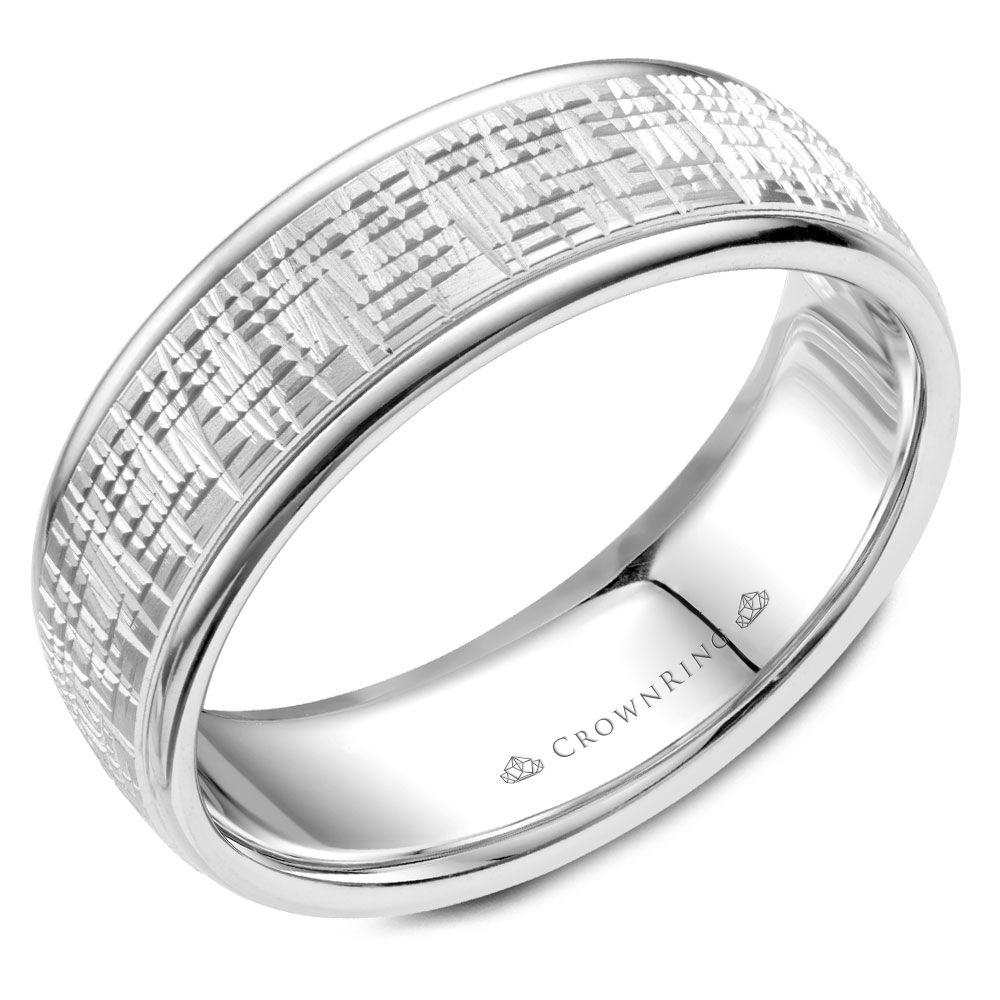 Crownring Carved 7mm White Gold Wedding Band For Men