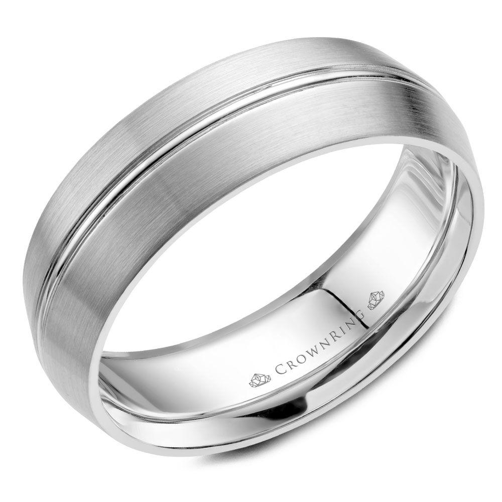Crownring Classic 7mm White Gold Wedding Band For Men