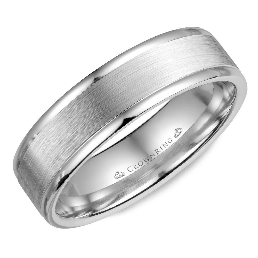 Crownring Classic 6mm White Gold Wedding Band For Men