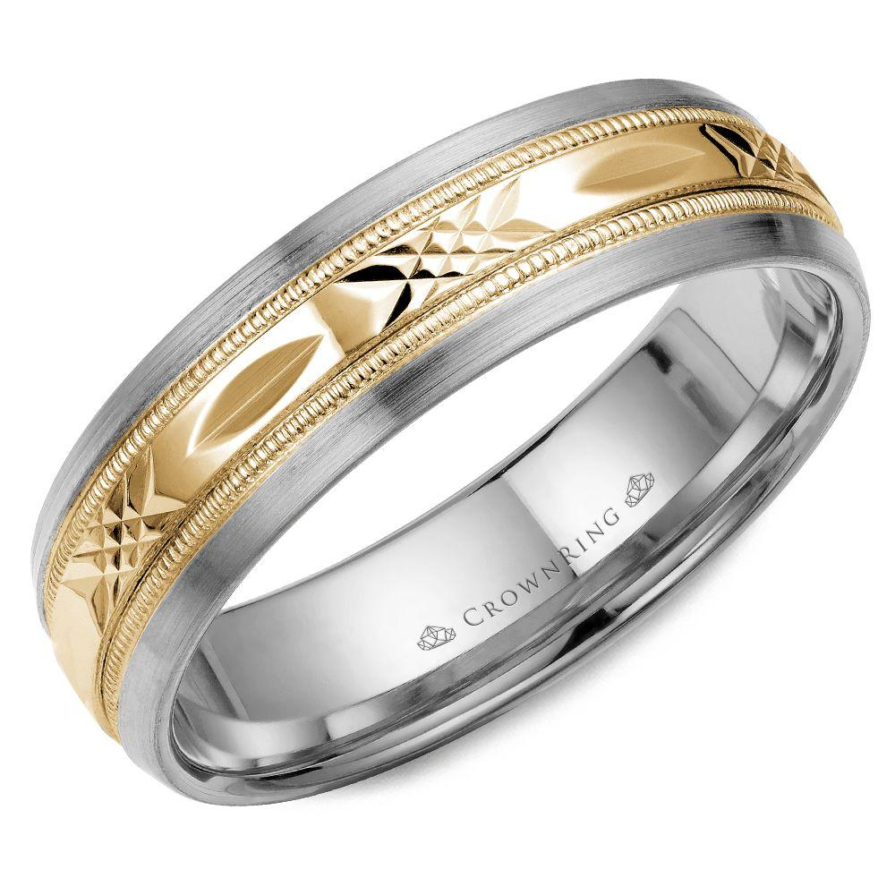 Crownring Carved 6mm White and Yellow Gold Wedding Band For Men