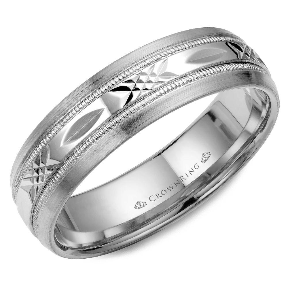 Crownring Carved 6mm White Gold Wedding Band For Men