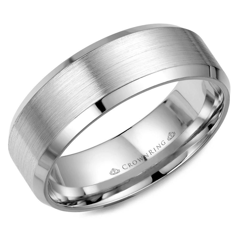 Crownring Classic 8mm White Gold Sandpaper Finish Wedding Band For Men