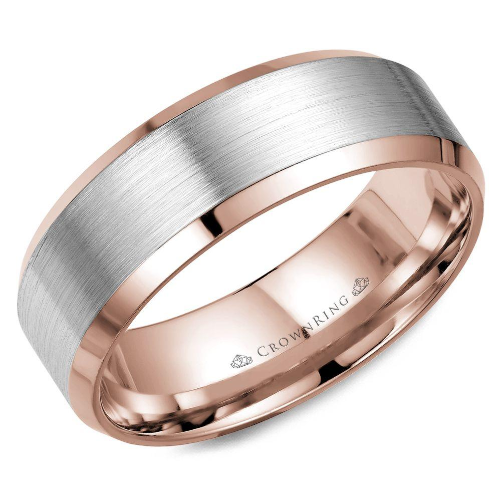 Crownring Classic 8mm White and Rose Gold Sandpaper Finish Wedding Band For Men