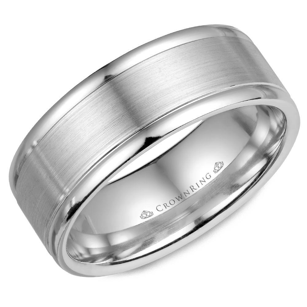 Crownring Classic 8mm Smooth White Gold Wedding Band For Men