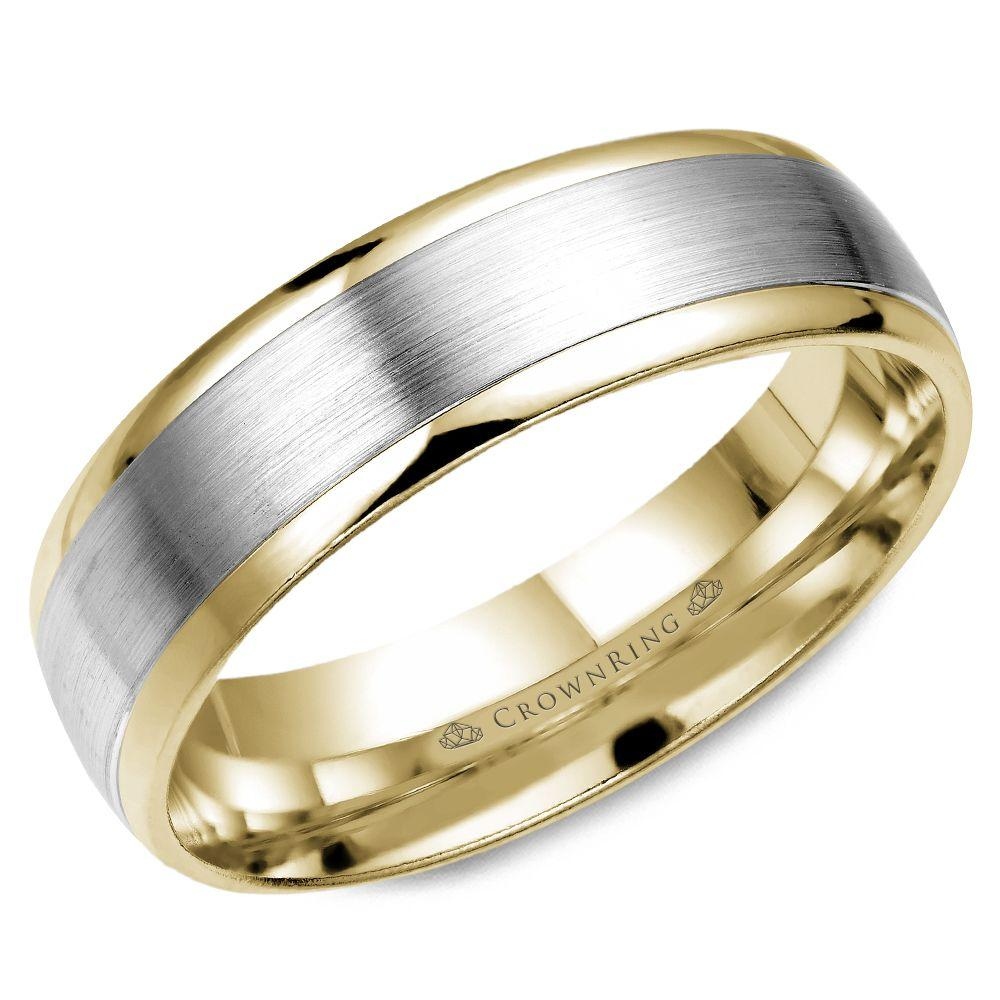 Crownring Classic 6mm Chic White and Yellow Gold Wedding Band For Men