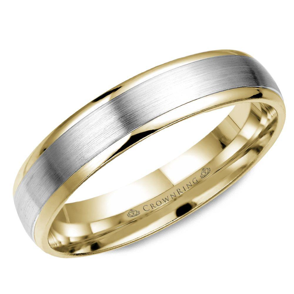 Crownring Classic 5mm White and Yellow Gold Wedding Band For Men