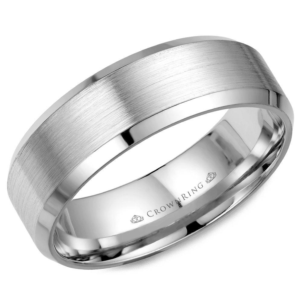 Crownring Classic 7mm Beveled Edges White Gold Wedding Band For Men