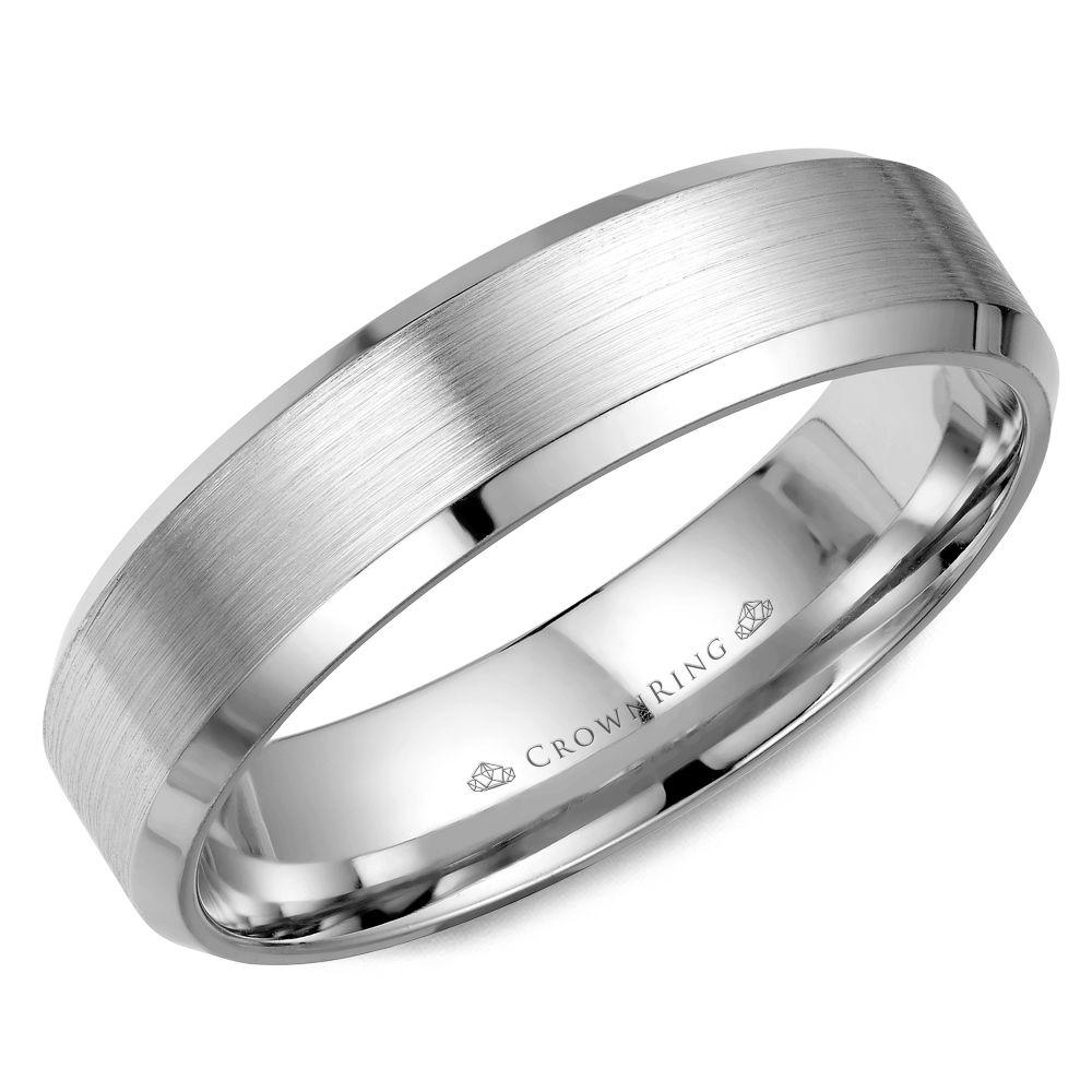 Crownring Classic 5mm White Gold Wedding Band For Men