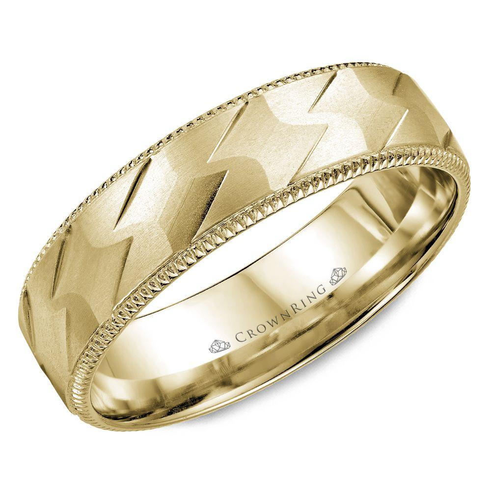 Crownring Carved 7mm Yellow Gold Wedding Band For Men