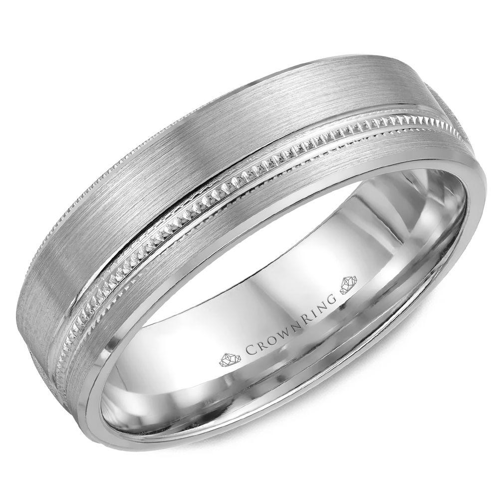 Crownring Carved 6.5mm White Gold Wedding Band For Men