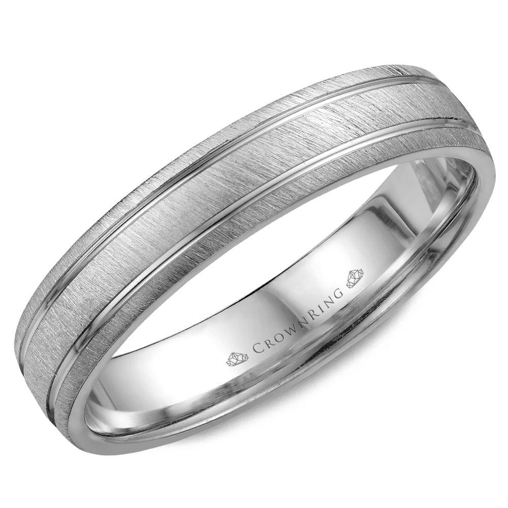 Crownring Classic 4.5mm Textured Center White Gold Wedding Band For Men