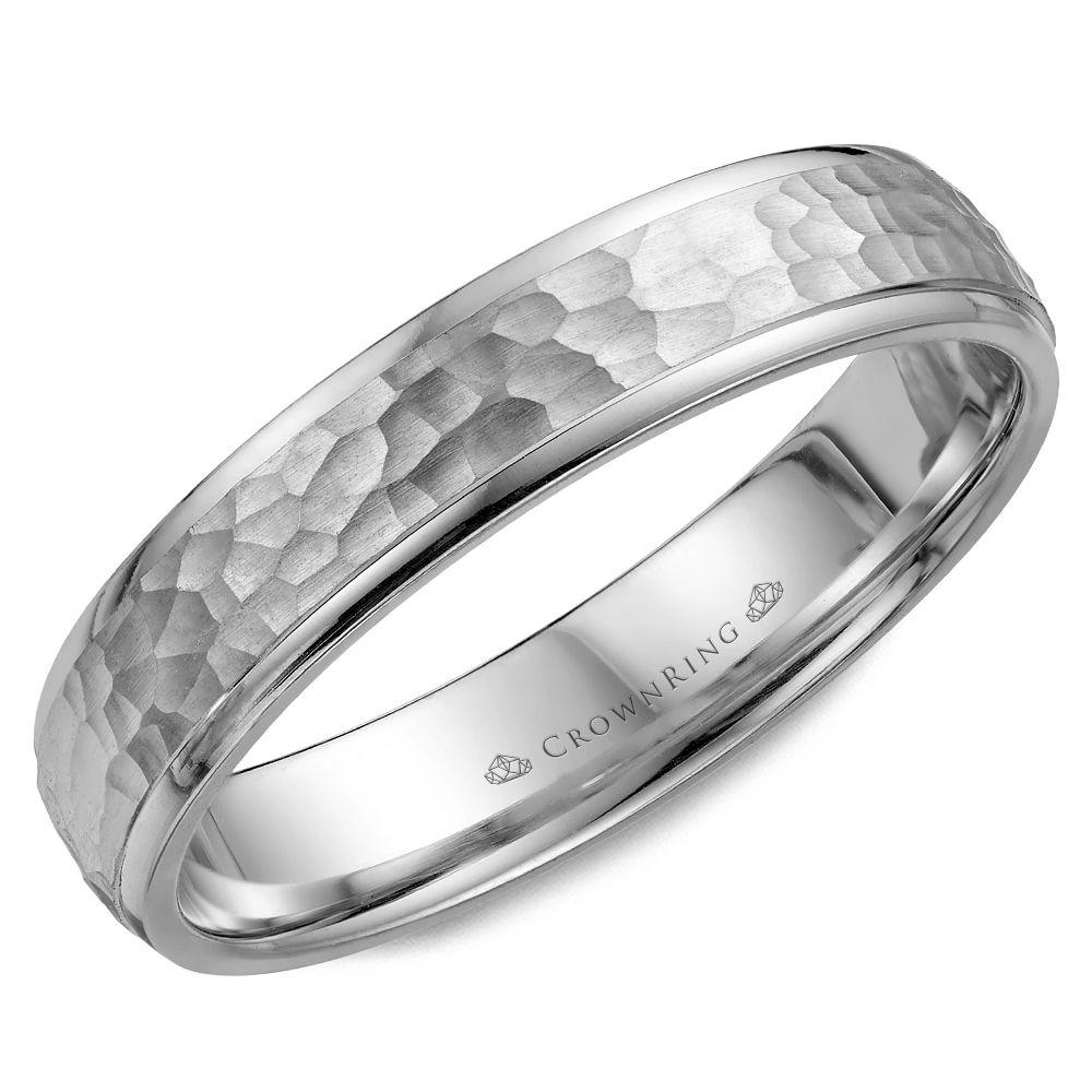 Crownring Carved 4.5mm White Gold Wedding Band For Men